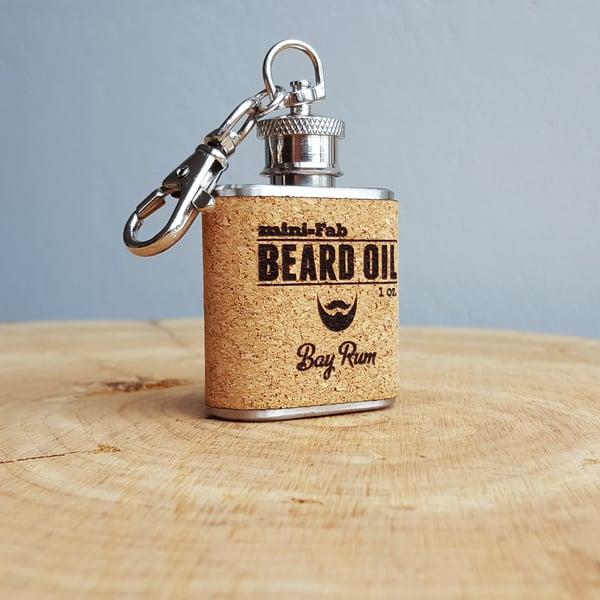 Image of Beard Oil - Bay Rum Scent - 1 oz. Reusable Flask - Men's Grooming All-Natural Organic Oil - Cork