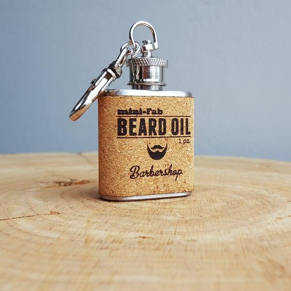 Image of Beard Oil - Barbershop Scent - 1 oz. Reusable Flask - Men's Grooming All-Natural Organic Oil - Cork