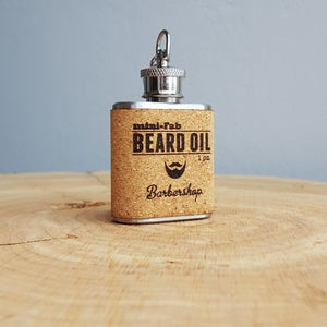 Image of Beard Oil - Barbershop Scent - 1 oz. Reusable Flask - Men's Grooming All-Natural Organic Oil - Cork