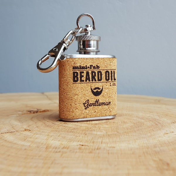 Image of Beard Oil - Gentleman Scent - 1 oz. Reusable Flask - Men's Grooming All-Natural Organic Oil - Cork