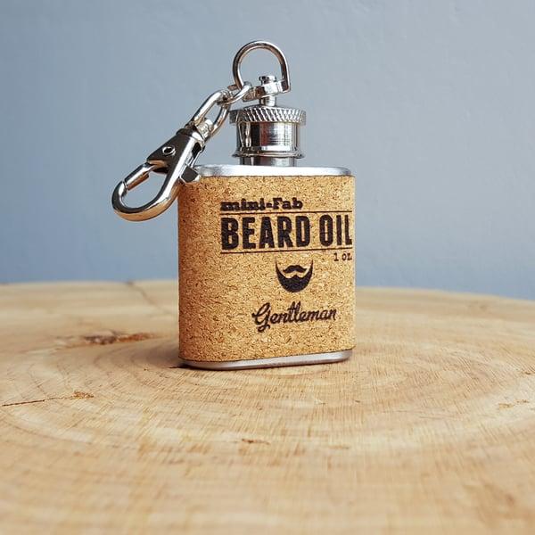 Image of Beard Oil - Gentleman Scent - 1 oz. Reusable Flask - Men's Grooming All-Natural Organic Oil - Cork