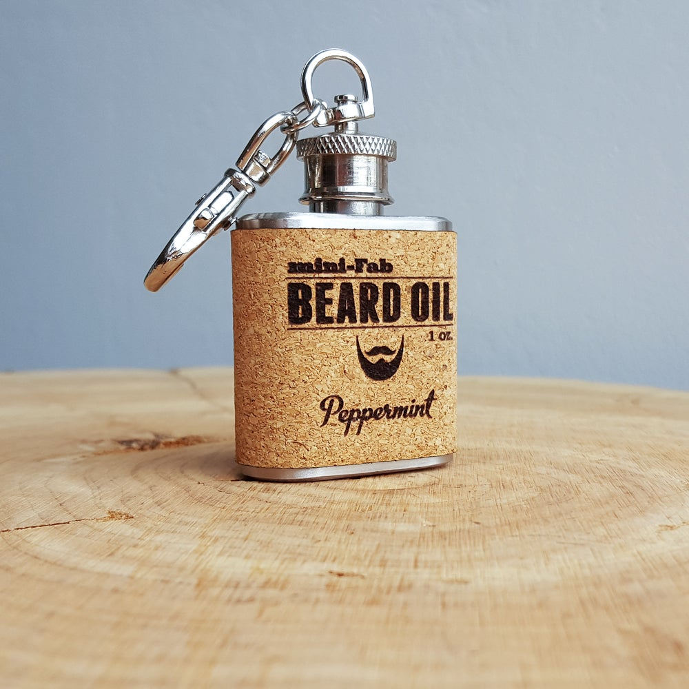 Image of Beard Oil - Peppermint Scent - 1 oz. Reusable Flask - Men's Grooming All-Natural Organic Oil - Cork