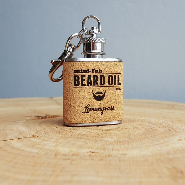 Image of Beard Oil - Lemongrass Scent - 1 oz. Reusable Flask - Men's Grooming All-Natural Organic Oil - Cork