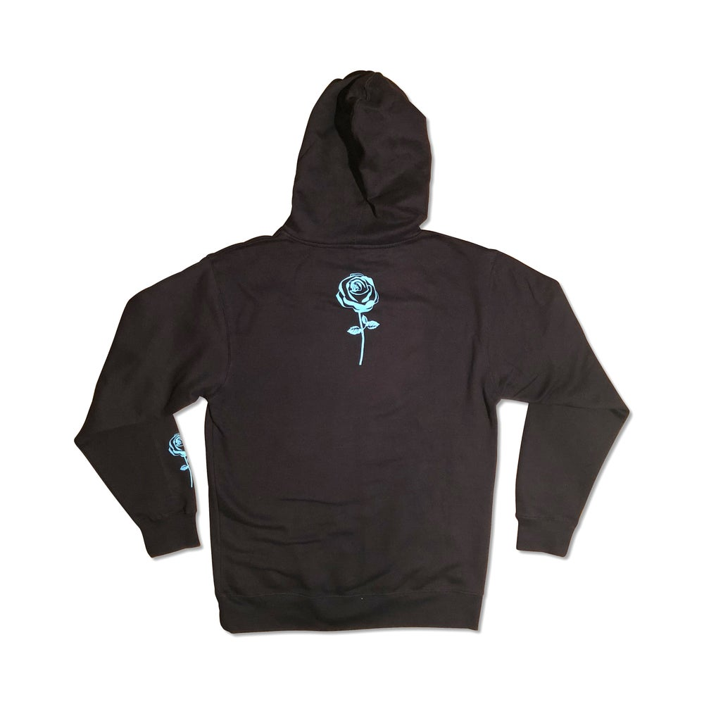 Image of Navy Blue Concrete Rose Pullover Hoodie