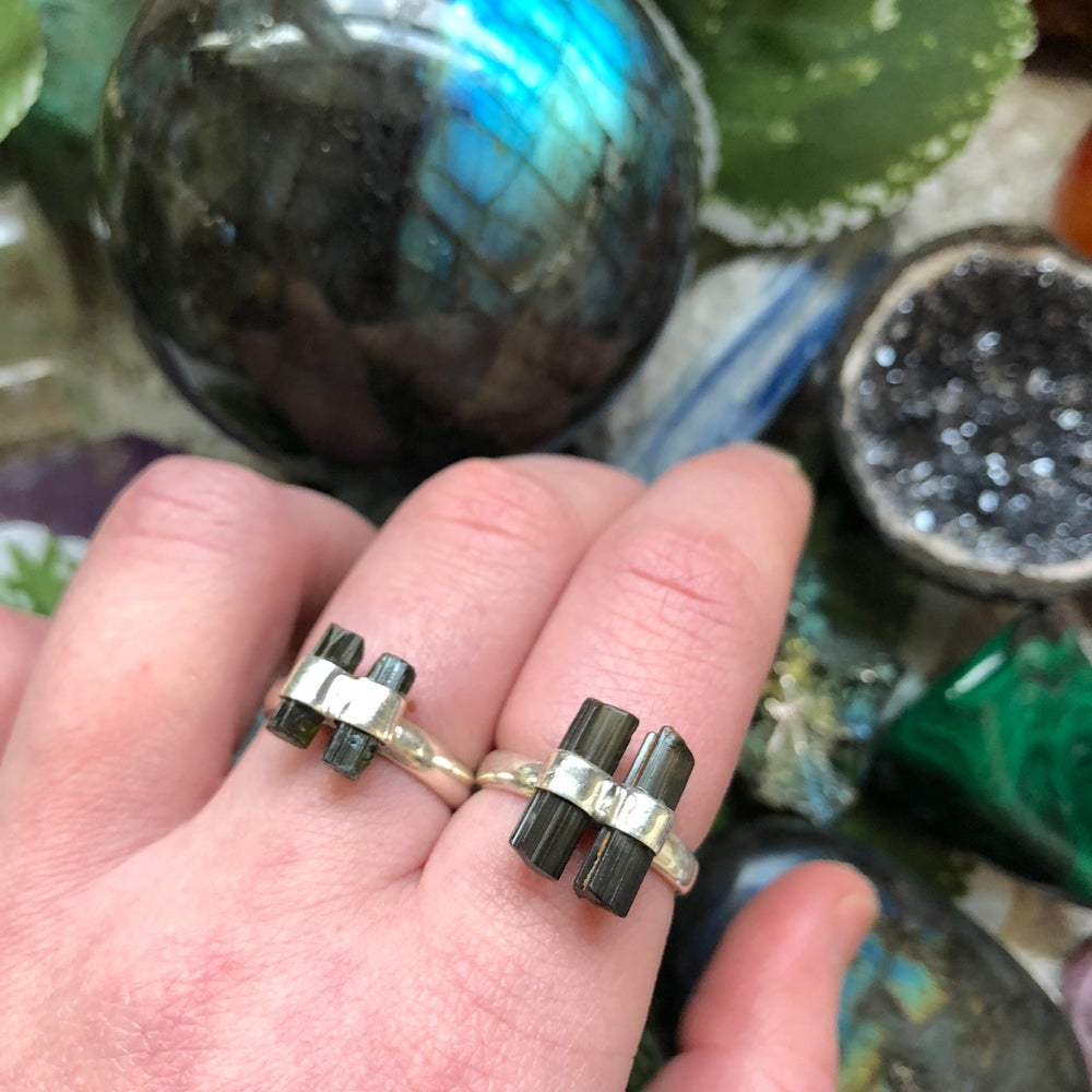 "Image of ""Gaia's Candies"" Tourmaline Sterling Silver Rings (sz 6 + sz 7)"