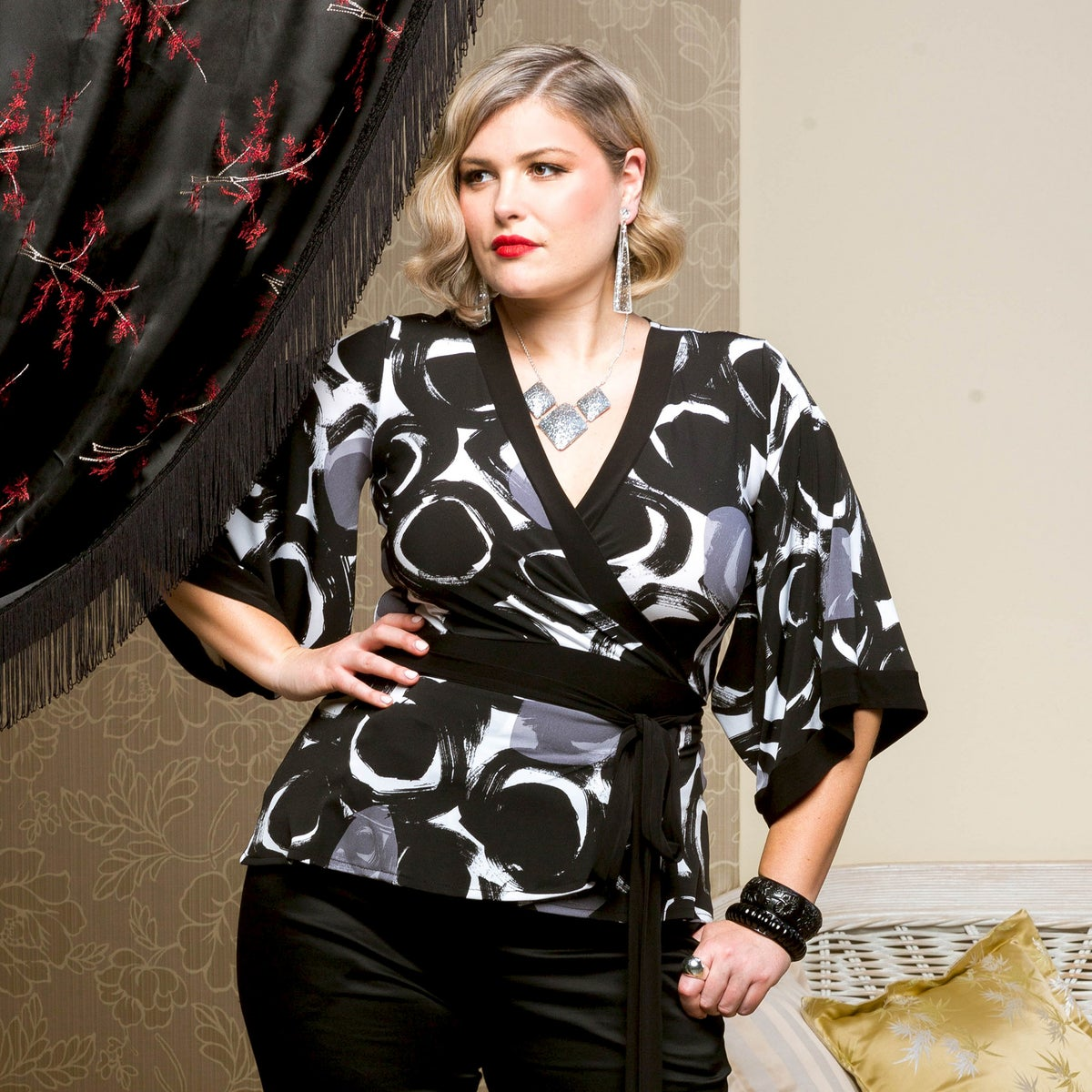 Image of PHOENIX FAUX WRAP TOP: BLACK PRINTS