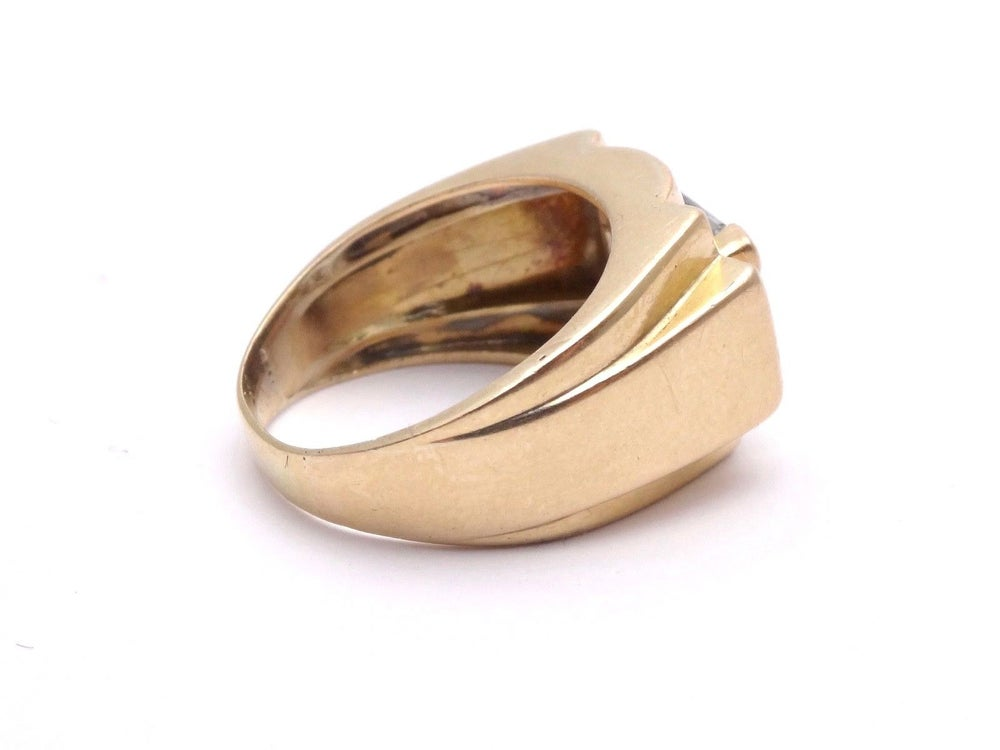 Image of Bague Tank en or 18k et aigue marine Art Deco 1940 T59