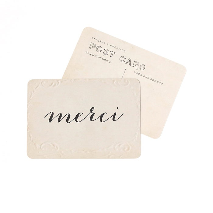 Image of Carte Postale MERCI / OLD PAPER