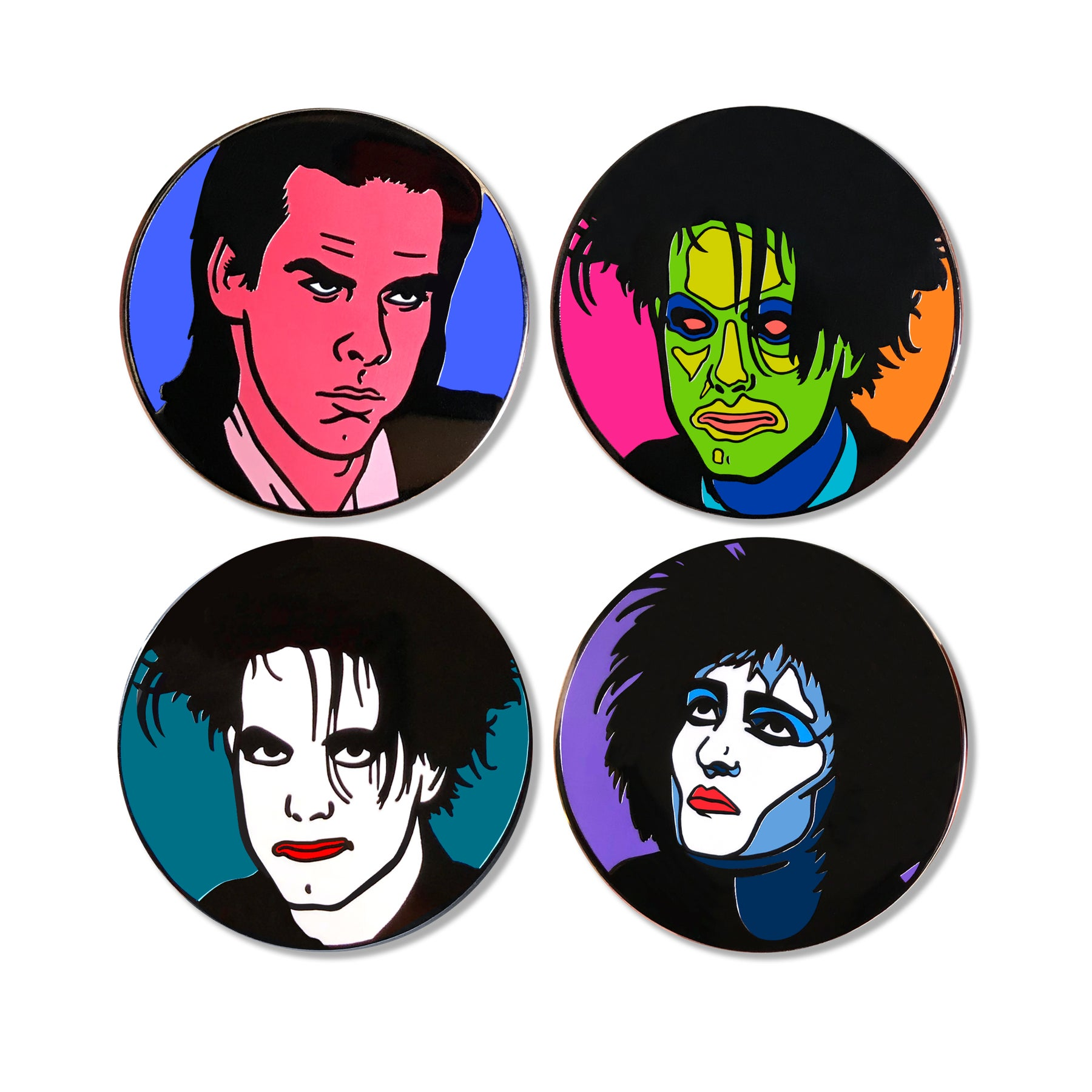 New Wave Enamel 4-Pin Set