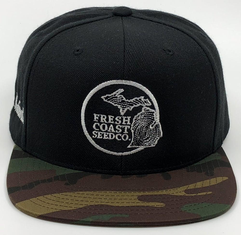 b98aede5a0a Image of Fresh Coast Seed Co snap-back hat (black camo)