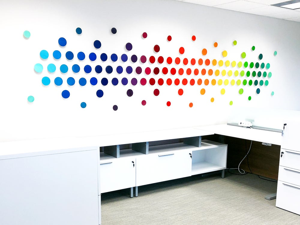 Image of 'ACROSS THE SPECTRUM' | Gradient Wall Art | Corporate Art | Colorful Wall Sculpture | Large Wall Art