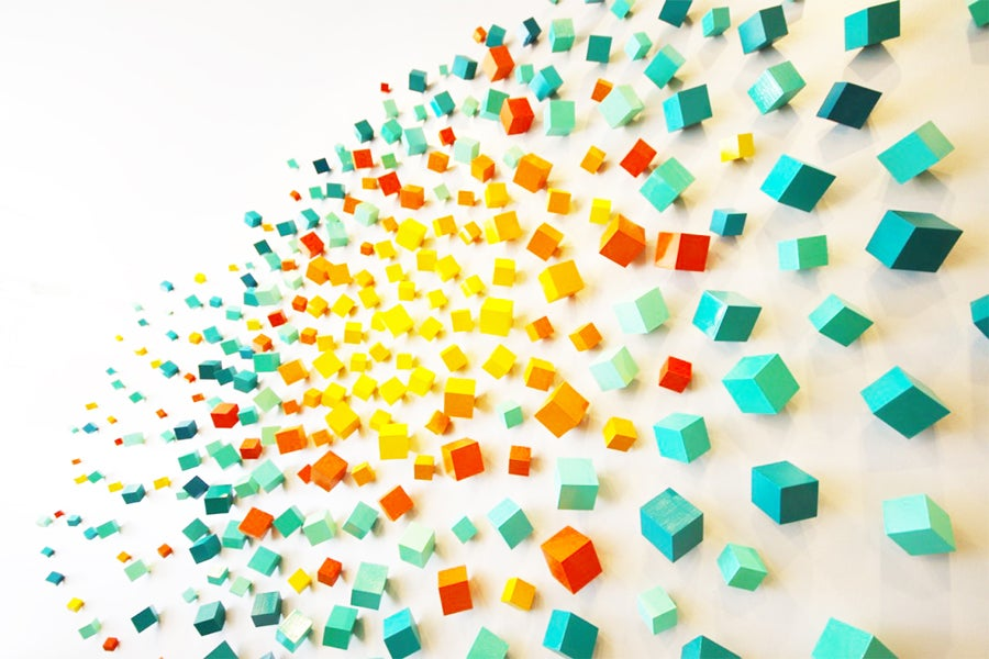 Image of 'YOU GLOW' | 3D Wall Art Installation | Cubes | Commercial Art | Lobby Art | Wood Wall Sculpture
