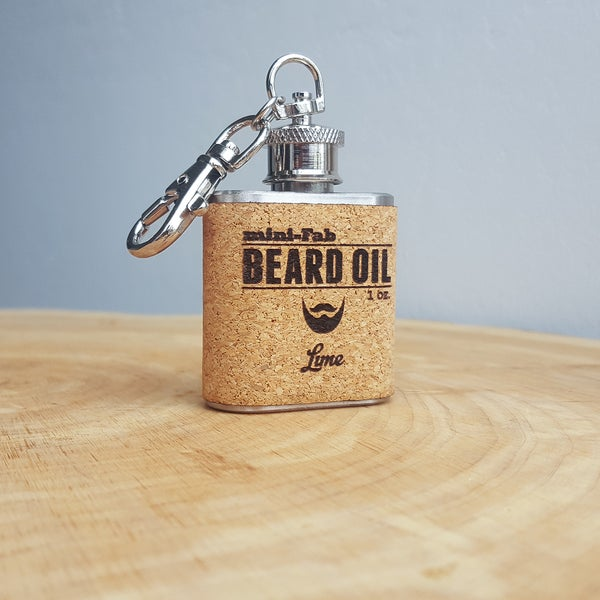 Image of Beard Oil - Lime Scent - 1 oz. Reusable Flask - Men's Grooming All-Natural Organic Oil - Cork