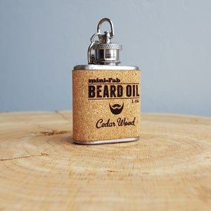Image of Beard Oil - Cedar Wood Scent - 1 oz. Reusable Flask - Men's Grooming All-Natural Organic Oil - Cork