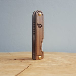 Image of Beard Comb - Personalized Wood Handmade with Engraved Walnut Scales and Mother of Pearl Acrylic