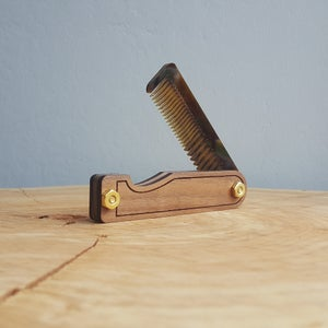 Image of Beard Comb - Personalized Wood Handmade with Engraved Walnut Scales and Tigerlily Marble Acrylic