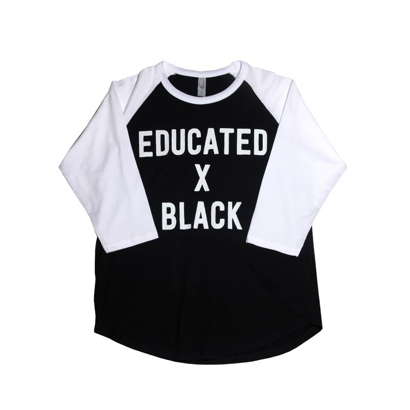 Image of Educated X Black 3/4 Sleeve Baseball Tee