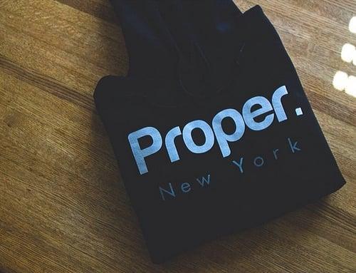 Image of Black Proper. Hoodie
