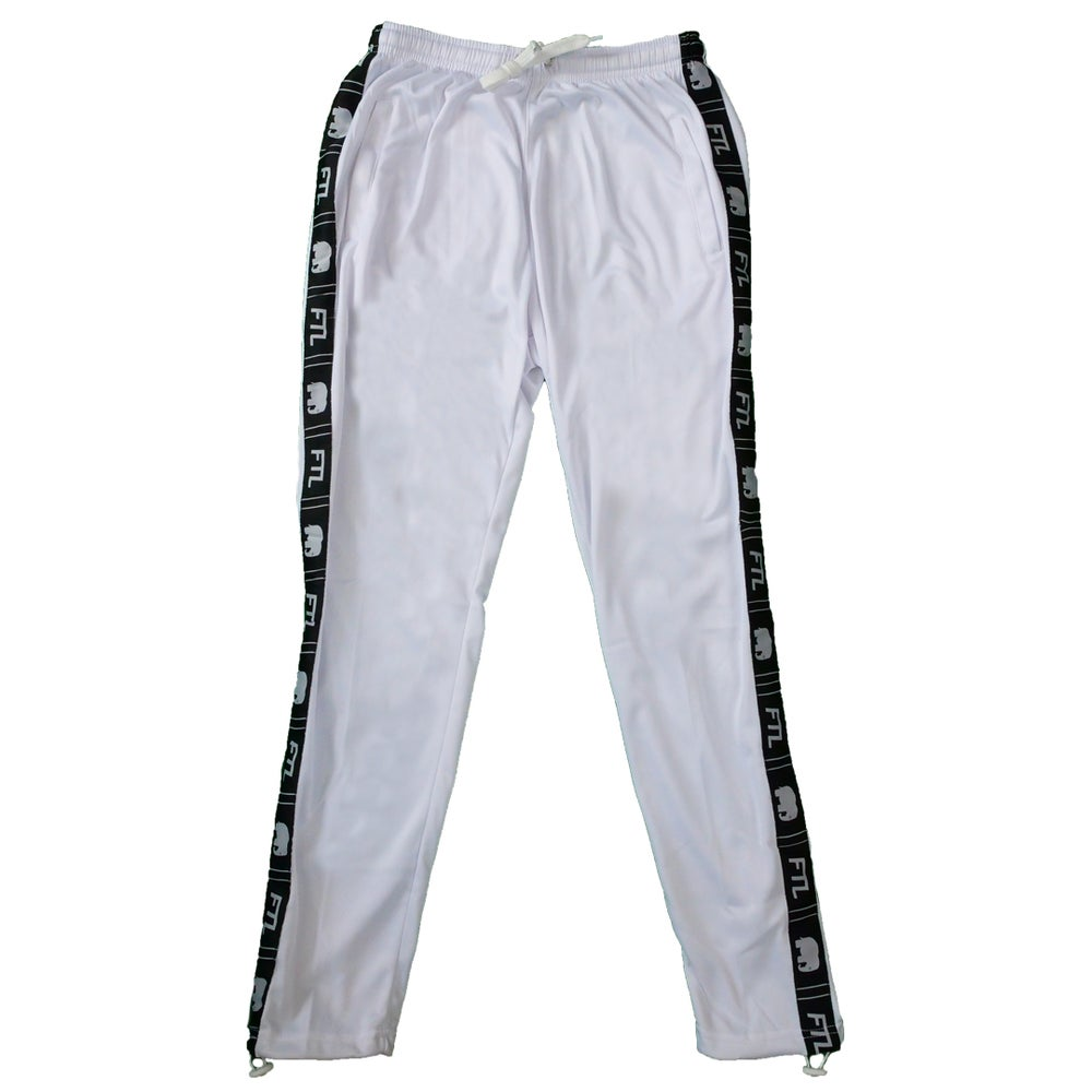 Image of Taped Logo Track Pants (White)