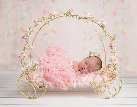 Image of Golden Princess Cinderella Carriage Newborn Baby Photography Prop