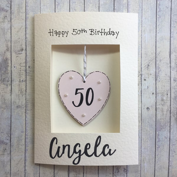 Image of Birthday Card with wooden heart