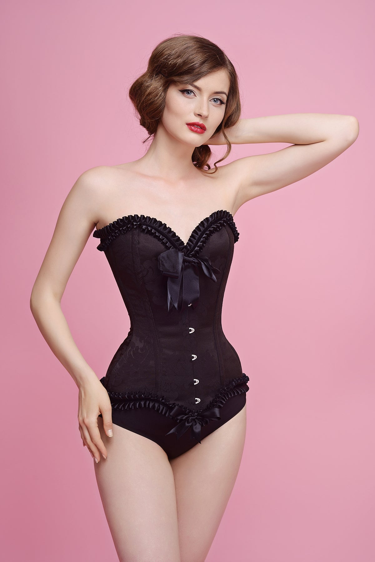 CORSET BROCADO NEGRO COSTURA