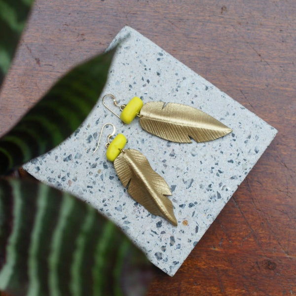 Image of Banana leaf earrings