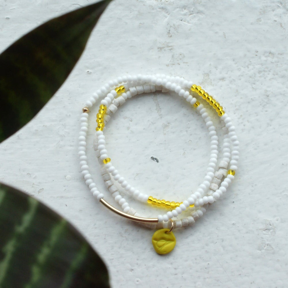 Image of Sow and Ye shall grow - white and lemon seed bead bracelet