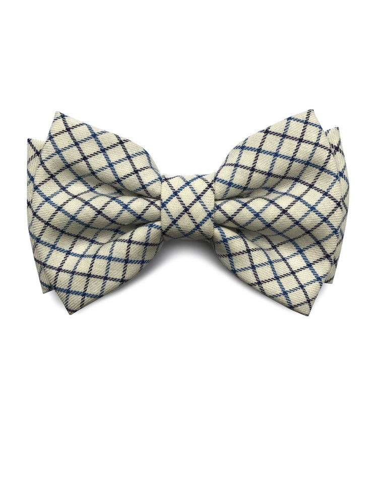 Image of Woven Check wool pre-tied bow tie