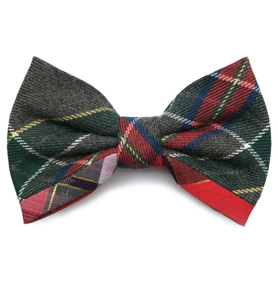 Image of Pre-tied patchwork tartan bow tie
