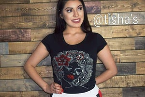 Image of Queen Rhinestone Short Sleeve Shirt or Tote