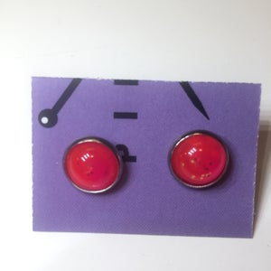 Image of Pink Dot Cabochon Earrings