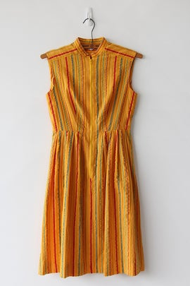 Image of SOLD Yellow Perfect Stripes Zip Dress