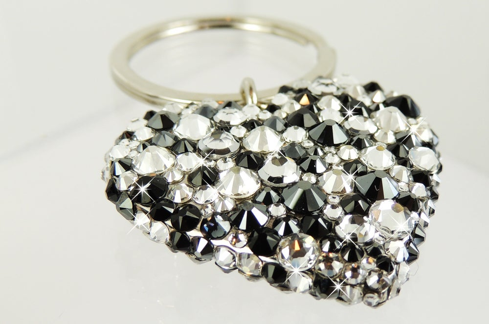 Image of Luxury Silver Heart Keyring with Crystals by Swarovski®