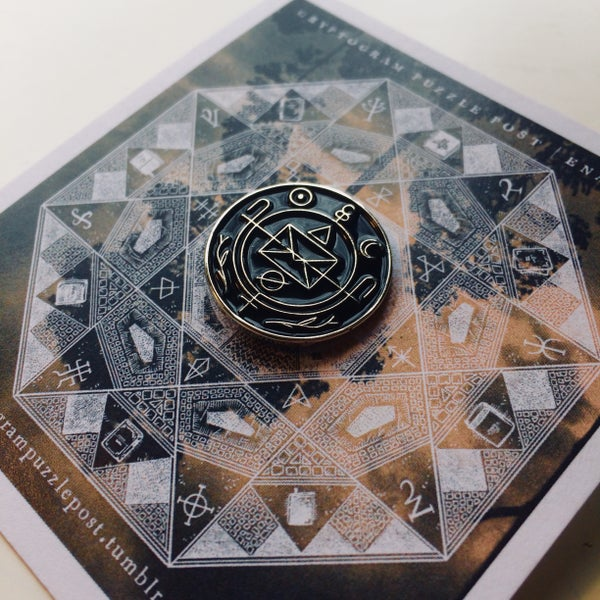 Image of Cryptogram Puzzle Post | Insignia Enamel Pin
