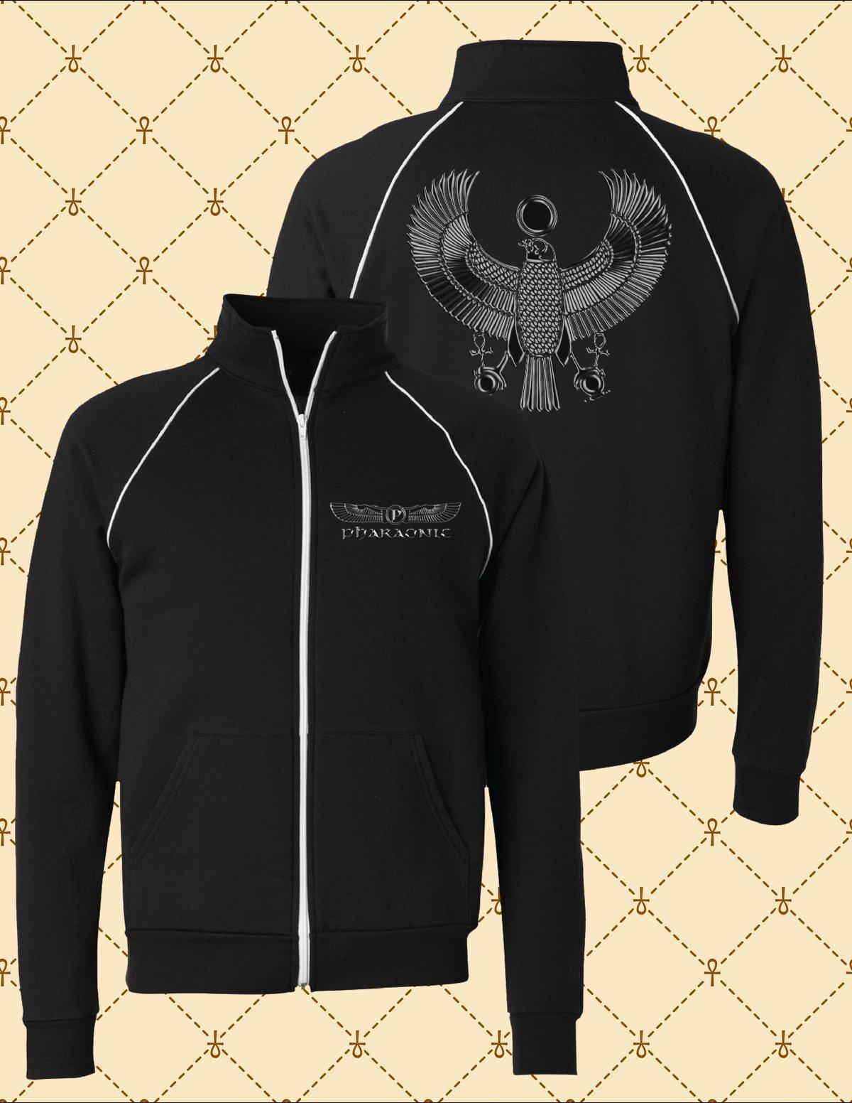 Image of Black HRU Unisex Piped Fleece Jacket