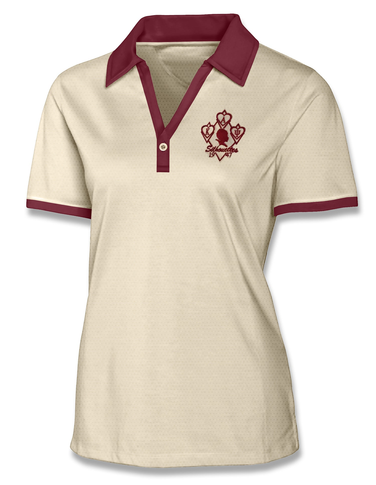 Image of Silhouette Moisture Wicking One Button Golf Polo (Cream w/Crimson Accents)