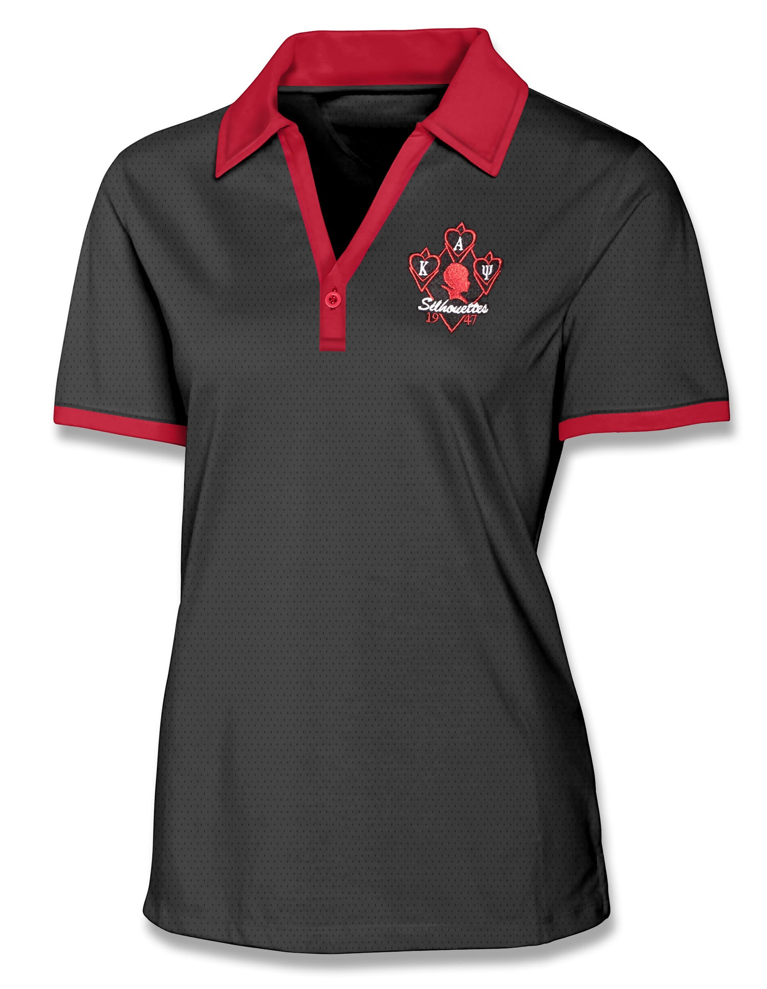 Image of Silhouette Moisture Wicking One Button Golf Polo (Black w/Red Accents)