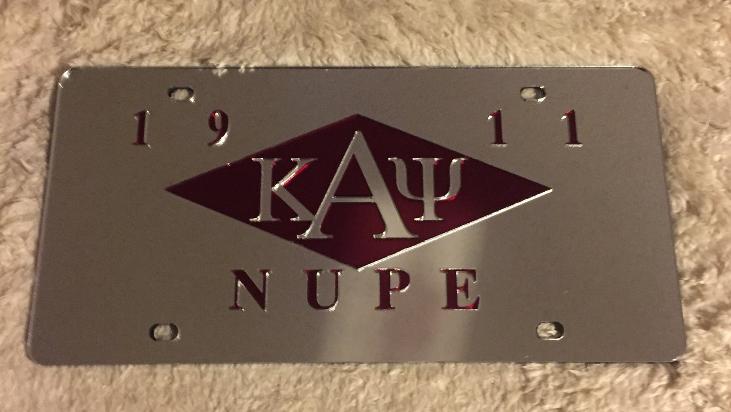 Image of Kappa License Plate - Stretch Diamond (Mirrored)