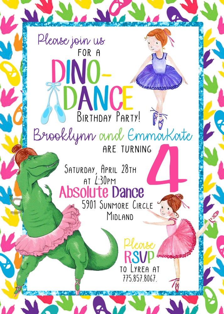 Image of Dancing Dinos Birthday Invitation