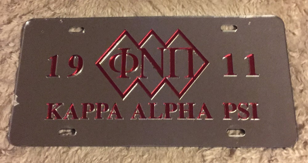 Image of 3 Diamond PHI NU PI Mirrored License Plate