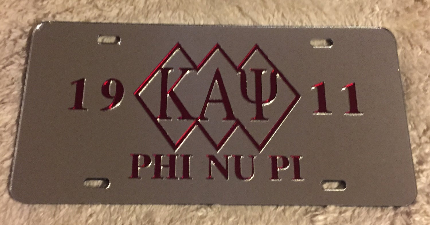 Image of 3-Diamond Kappa Alpha Psi Mirrored License Plate