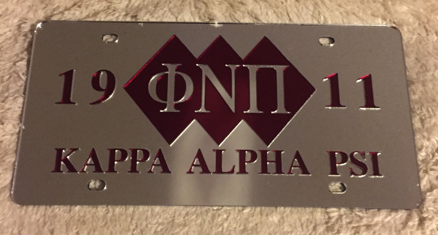 Image of 3-Diamond Phi Nu Pi Mirrored License Plate (Shaded)