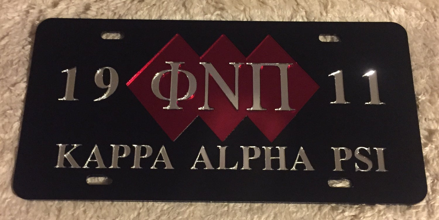 Image of 3-Diamond Phi Nu Pi Black License Plate