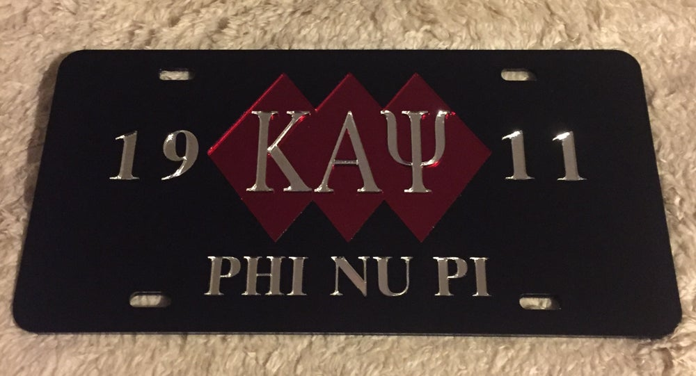 Image of 3-Diamond Kappa Alpha Psi Black License Plate