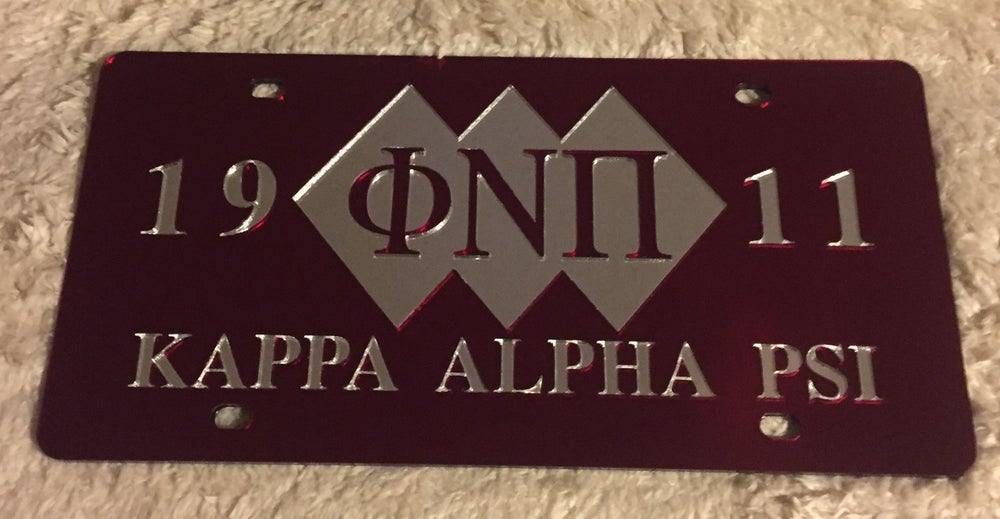 Image of 3-Diamond Phi Nu Pi Crimson License Plate