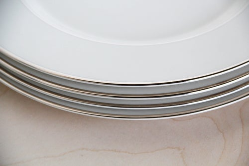 Image of Porcelain + Platinum Trim Plate Set