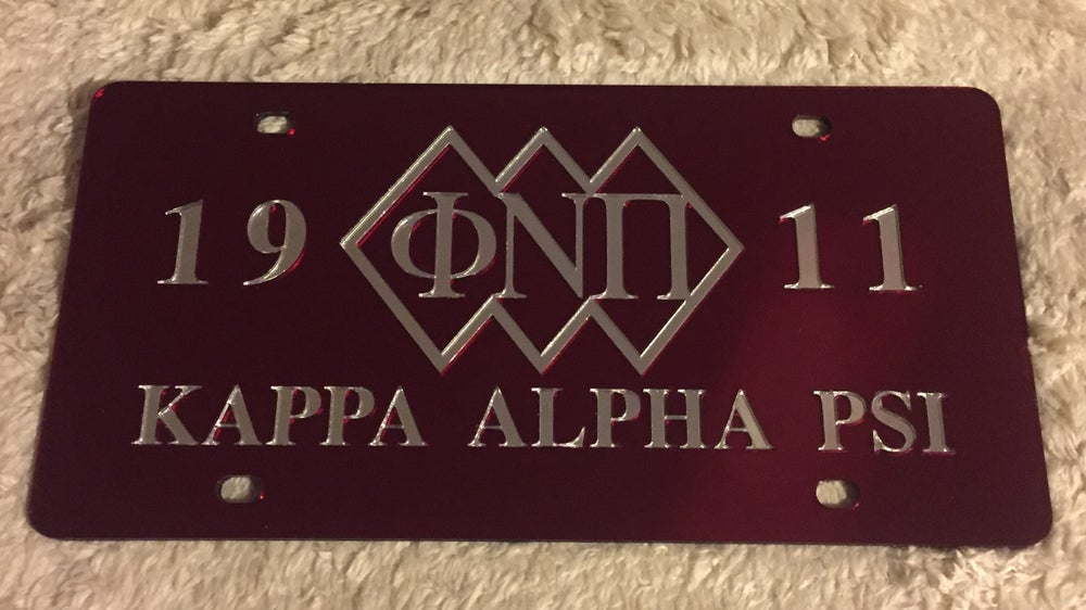 Image of 3-Diamond Crimson Phi Nu Pi License Plate