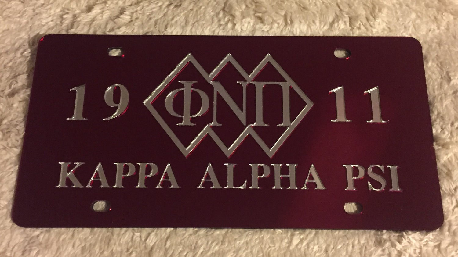 Image of 3-Diamond Crimson Phi Nu Pi License Plate (outlined)