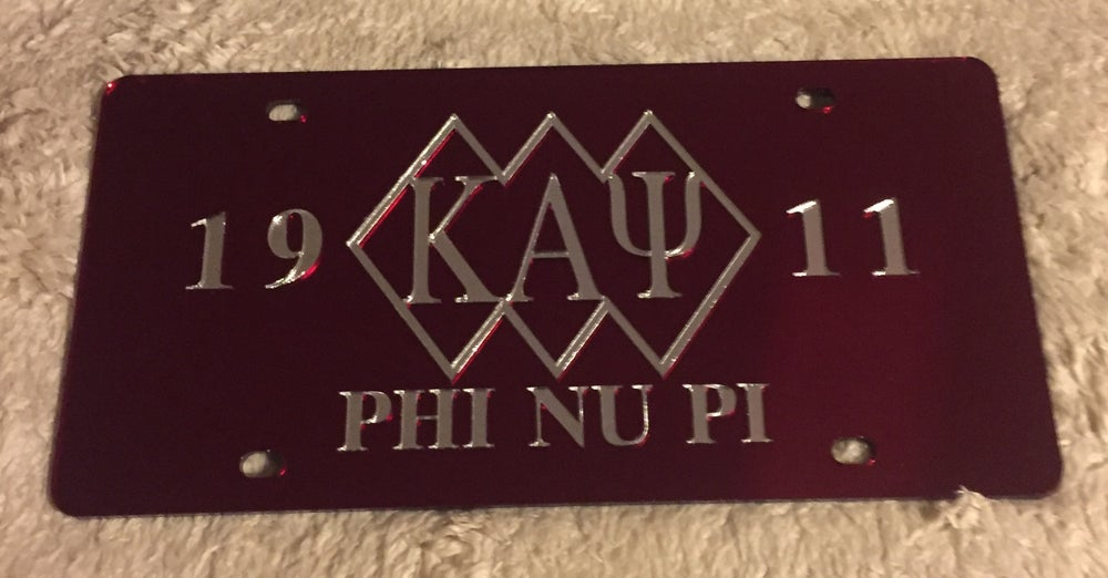 Image of 3-Diamond Crimson Kappa Alpha Psi License Plate
